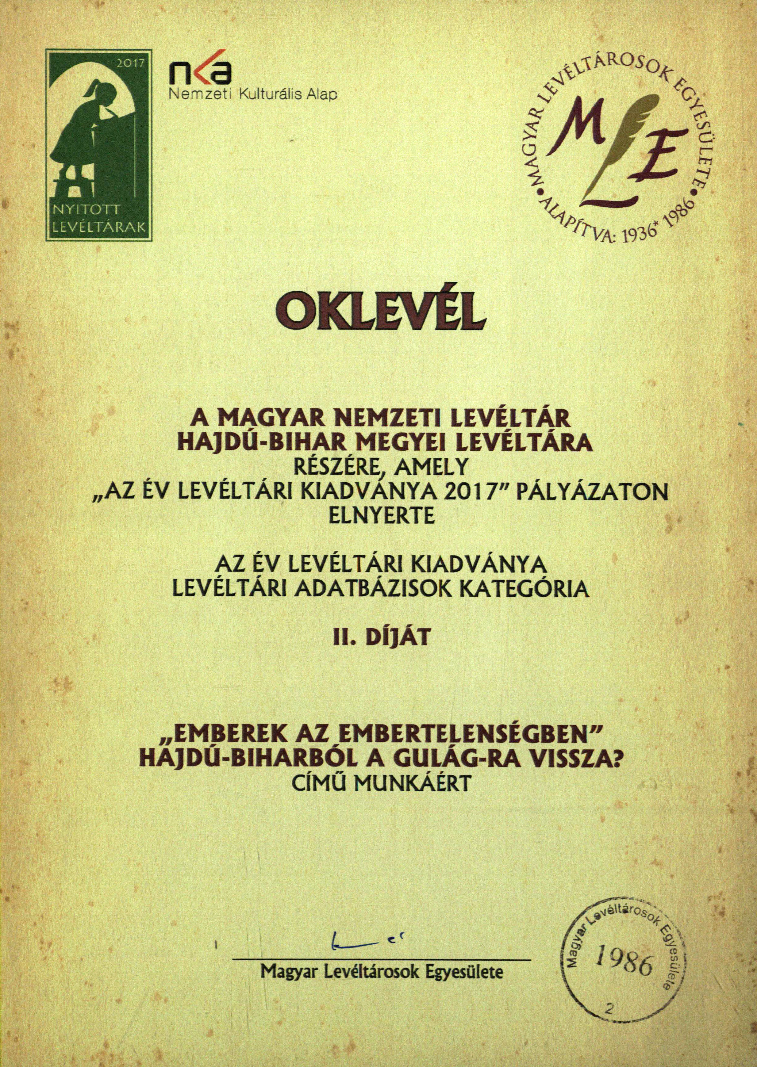 2Az Év Levéltári Kiadványa 2017 – Levéltári adatbázisok kategória II. díj